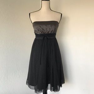 bebe polka dot silk dress small